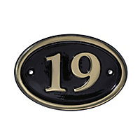 The House Nameplate Company Polished Black Brass Oval House number 19, (H)120mm (W)160mm
