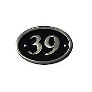 The House Nameplate Company Polished Black Brass Oval House number 39, (H)120mm (W)160mm