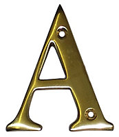 The House Nameplate Company Polished Brass House letter A, (H)100mm (W)65mm