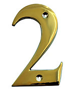 The House Nameplate Company Polished Brass House number 2, (H)100mm (W)65mm