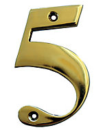The House Nameplate Company Polished Brass House number 5, (H)100mm (W)65mm