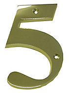 The House Nameplate Company Polished Brass House number 5, (H)150mm (W)85mm