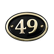 The House Nameplate Company Polished Brass Oval House number 49, (H)102mm (W)152mm