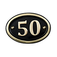 The House Nameplate Company Polished Brass Oval House number 50, (H)102mm (W)152mm