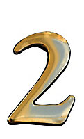 The House Nameplate Company Polished Brass Self-adhesive House number 2, (H)50mm (W)25mm