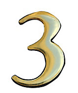 The House Nameplate Company Polished Brass Self-adhesive House number 3, (H)50mm (W)25mm