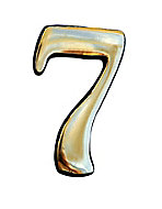 The House Nameplate Company Polished Brass Self-adhesive House number 7, (H)50mm (W)25mm
