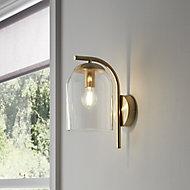 Thestias Brushed Brass effect Wall light