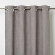 Tiga Grey Plain Unlined Eyelet Curtain (W)167cm (L)183cm, Single