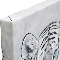 Tiger Black & white Canvas art (H)450mm (W)450mm