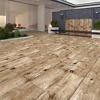 Timberwood Brown Matt Wood effect Porcelain Outdoor Floor Tile, Pack of 2, (L)1200mm (W)300mm