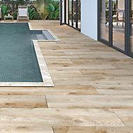 Timberwood Natural Matt Wood effect Porcelain Outdoor Floor Tile, Pack of 2, (L)1200mm (W)300mm