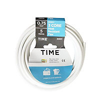 Time 3093Y White 3 core Multi-core cable 0.75mm² x 5m