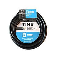 Time Black 3 core Multi-core cable 5m