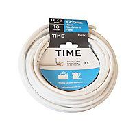 Time White 3 core Multi-core cable 10m