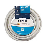 Time White 3 core Multi-core cable 5m