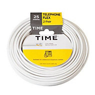 Time White 4 core Telephone cable, 25m, Pack of 2