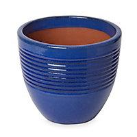 Tiwlip Blue Ceramic Ribbed Plant pot (Dia)27cm