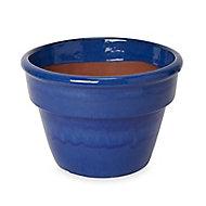 Tiwlip Blue Ceramic Round Plant pot (Dia)34cm
