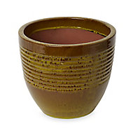 Tiwlip Green Ceramic Ribbed Round Plant pot (Dia)27cm