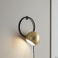 Toroba Black Gold effect Plug-in Wall light