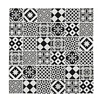 Tortorey Black & white Concrete effect Glass Mosaic tile sheet, (L)300mm (W)300mm