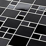 Tourino Black Metal effect Mosaic Stainless steel Mosaic tile, (L)300mm (W)300mm