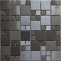 Tourino Black Metal effect Stainless steel Mosaic tile, (L)300mm (W)300mm