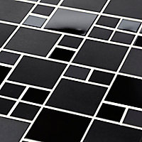 Tourino Black Stainless steel Mosaic tile, (L)300mm (W)300mm