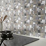 Tourino Grey Aluminium & glass Mosaic tile sheet, (L)300mm (W)300mm
