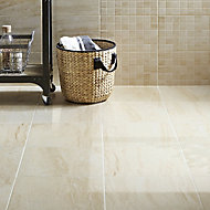 Travertina Beige Matt Stone effect Porcelain Floor tile, Pack of 9, (L)400mm (W)400mm