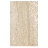 Travertina Light beige Gloss Flat Ceramic Wall Tile, Pack of 10, (L)402.4mm (W)251.6mm