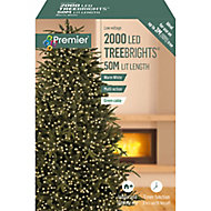Treebright 2000 Warm White LED String lights Green cable