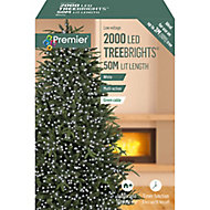 Treebrights 2000 White LED String lights Green cable