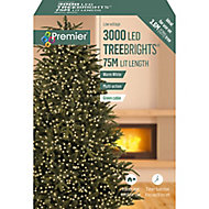 Treebrights 3000 Warm White LED String lights Green cable