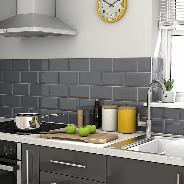 Trentie Anthracite Gloss Metro Ceramic Wall Tile Pack Of 40 L 200mm W 100mm Diy At B Q