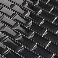 Trentie Black Ceramic Mosaic tile sheet, (L)300mm (W)300mm