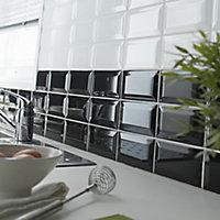 Trentie Black Gloss Metro Ceramic Wall tile, (L)200mm (W)100mm, Sample