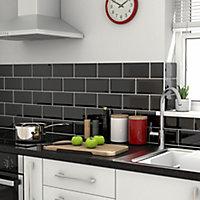 Trentie Black Gloss Metro Ceramic Wall tile, Pack of 40, (L)200mm (W)100mm, Sample