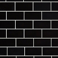 Trentie Black Gloss Metro Ceramic Wall tile, Pack of 40, (L)200mm (W)100mm