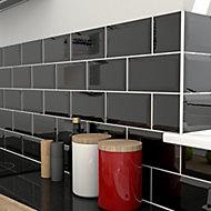 Trentie Black Gloss Metro Ceramic Wall Tile, Pack of 40, (L)200mm (W)100mm