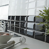 Trentie Black Gloss Metro Ceramic Wall Tile Sample