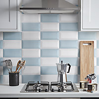 Trentie Blue Gloss Metro Ceramic Wall tile, Pack of 40, (L)200mm (W)100mm