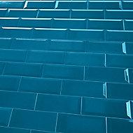 Trentie Blue Gloss Metro Ceramic Wall Tile, Pack of 40, (L)200mm (W)100mm