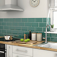 Trentie Dark green Gloss Metro Ceramic Wall tile, Pack of 40, (L)200mm (W)100mm, Sample