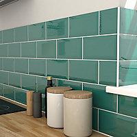 trentie dark green gloss metro ceramic wall tile, pack of