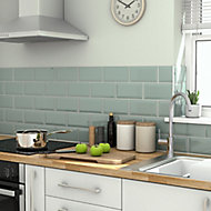 Trentie Green Gloss Metro Ceramic Wall tile, Pack of 40, (L)200mm (W)100mm, Sample