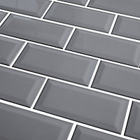 Trentie Grey Gloss Metro Ceramic Wall tile, Pack of 40, (L)200mm (W)100mm