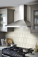 Trentie Ivory Gloss Metro Ceramic Wall Tile, Pack of 40, (L)200mm (W)100mm