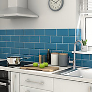 Trentie Petrol blue Gloss Metro Ceramic Wall tile, Pack of 40, (L)200mm (W)100mm, Sample